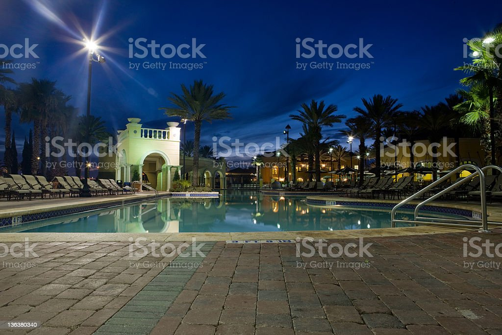 Night at the pool royalty-free stock photo