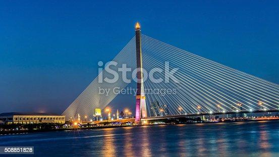 Night at the Rama 8 Bridge, Bangkok, Thailand.