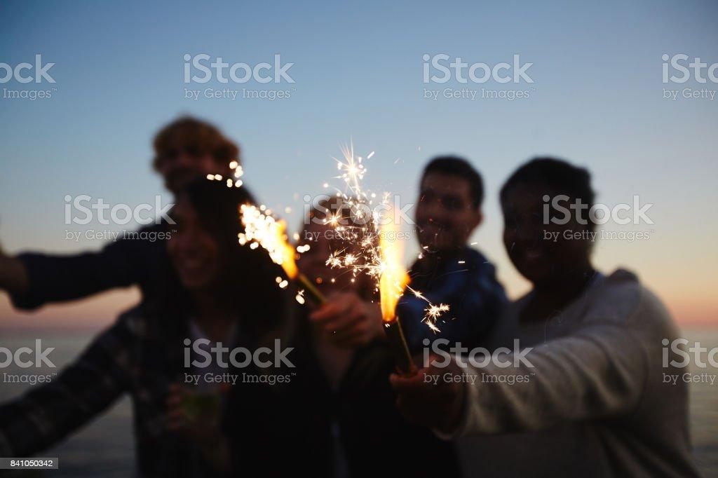 Night Beach Party at Full Speed stock photo