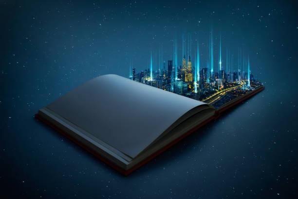 Night beautiful scene of modern city skyline pop up in the open book stock photo