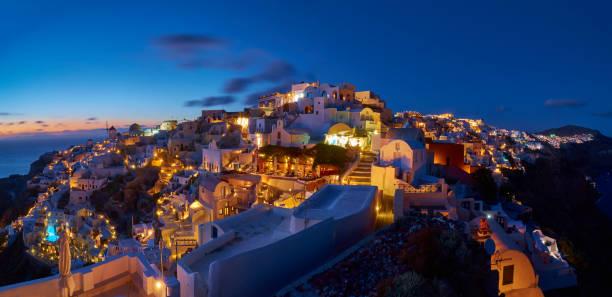 Night beauty of Oia-Santorini stock photo
