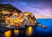 Composition of Manarola village from Cinque Terre region at night with the Milky way. Italy