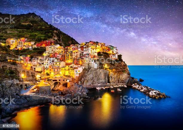 Photo of night blue hour manarola cinque terre liguria italy milky way
