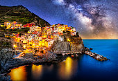 Composition of Manarola village from Cinque Terre region at night with the Milky way. Italy