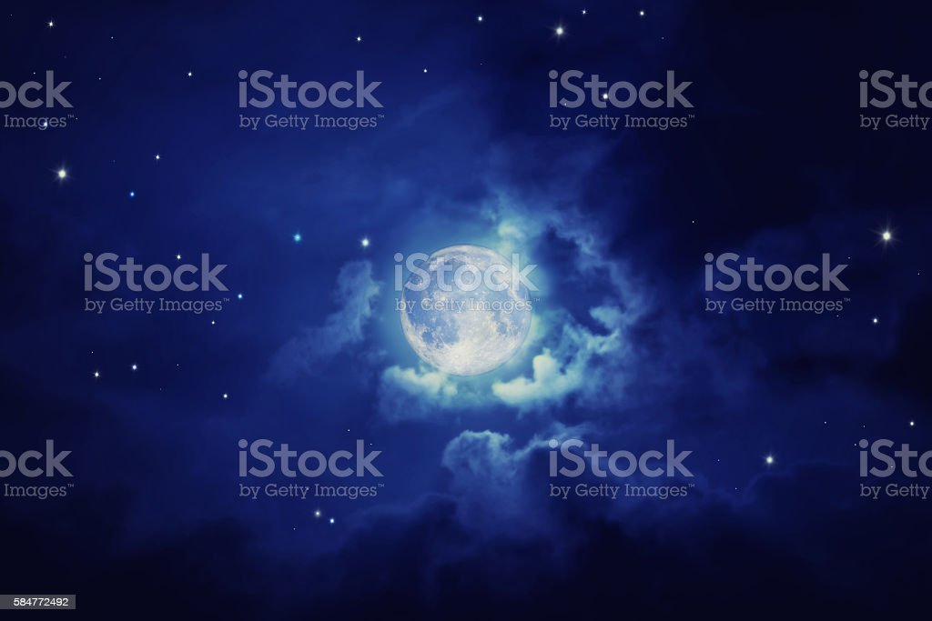 Night blue sky with moon stock photo