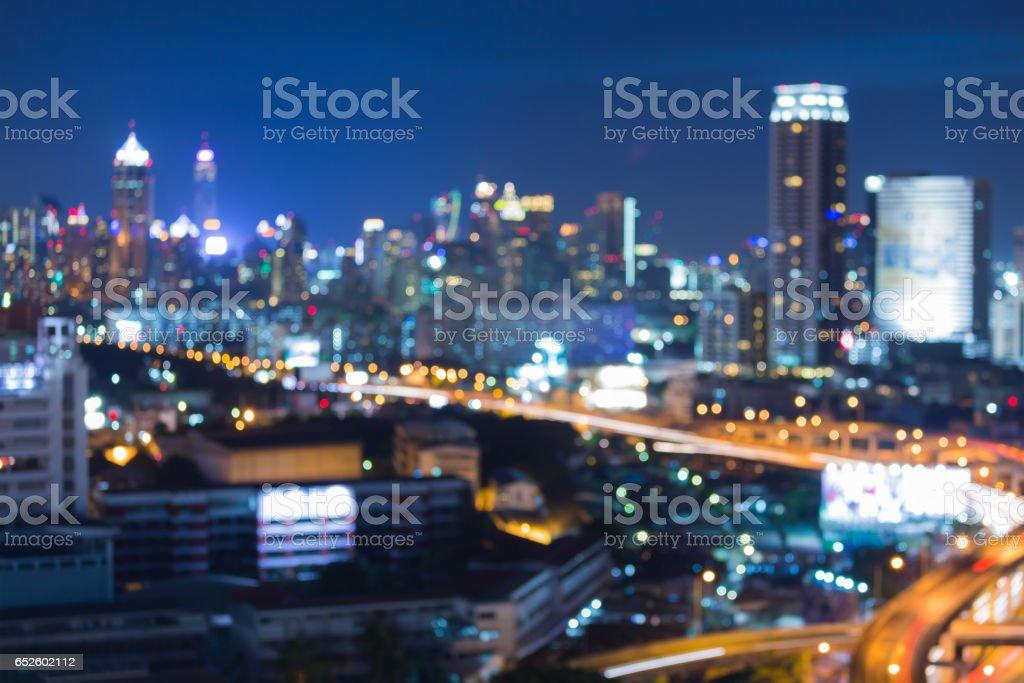 Night blur bokeh city business downtown stock photo