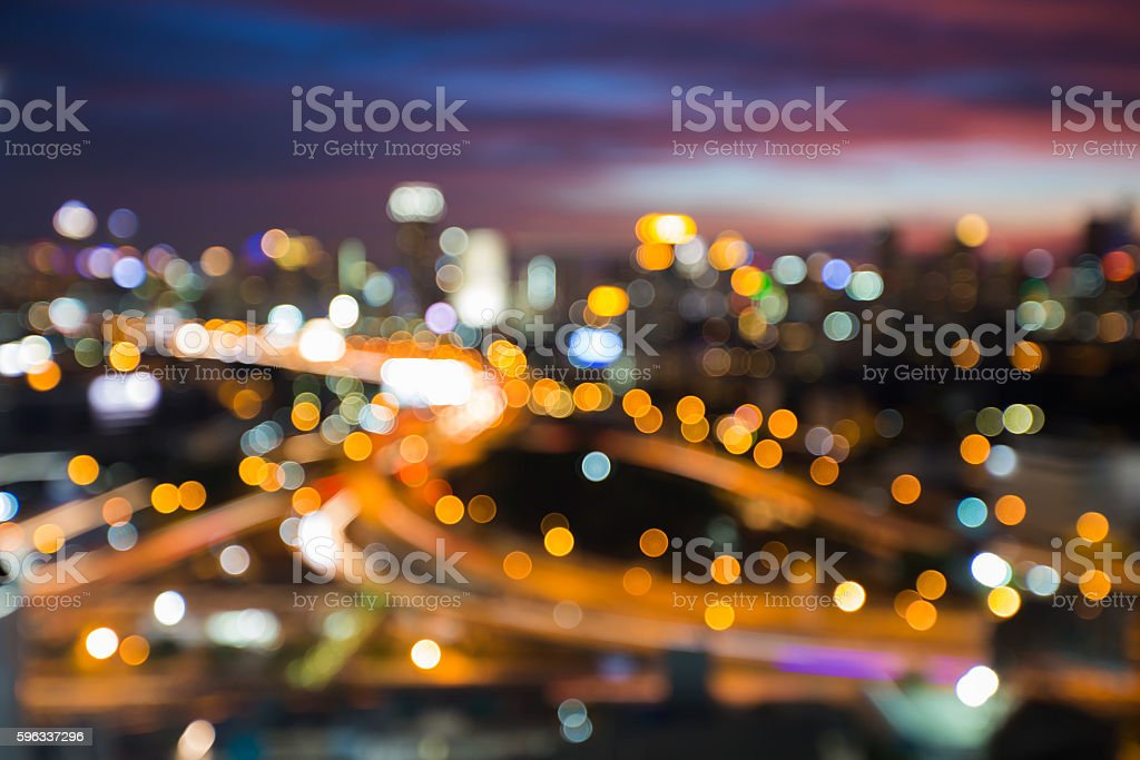 Night blurred lights city background and road interchanged Lizenzfreies stock-foto