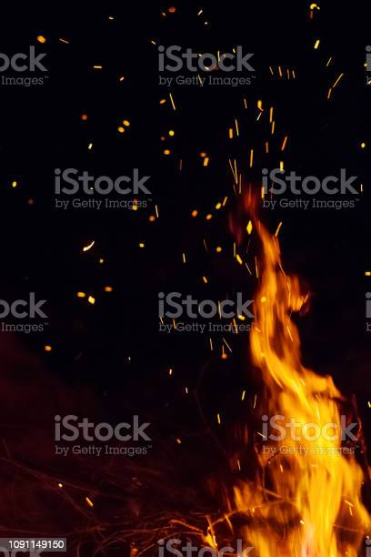 Photo of Night bonfire with sparks