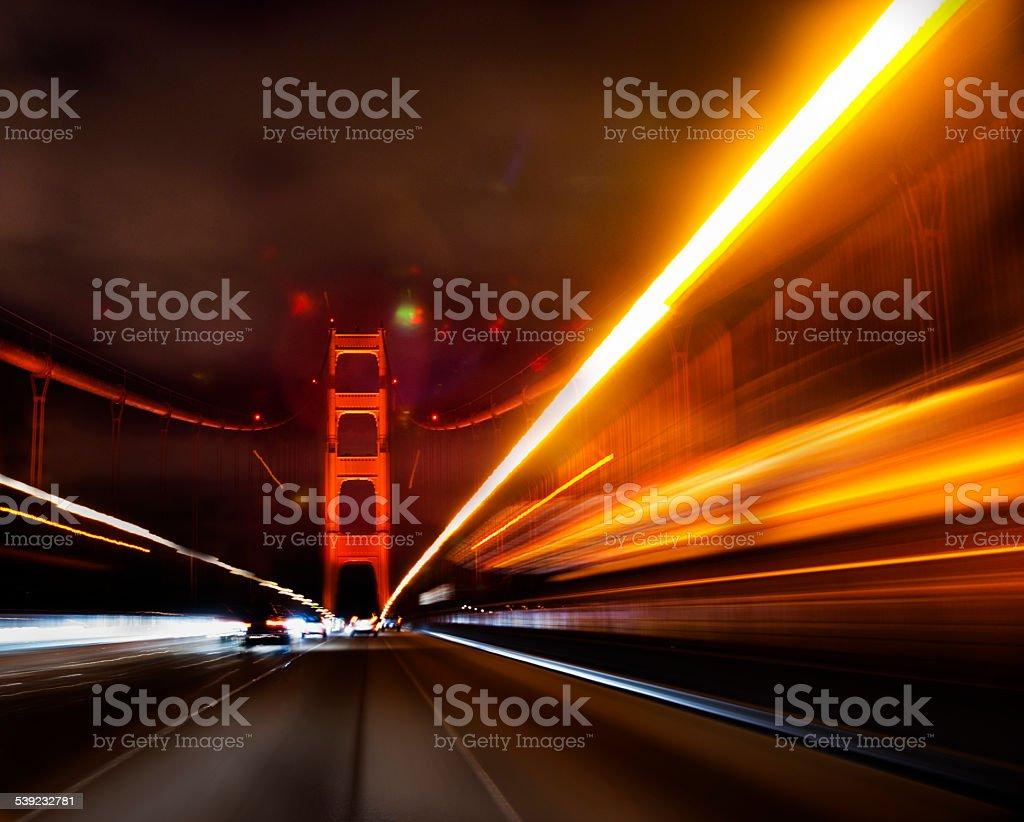 Night Bridge Crossing royalty-free stock photo