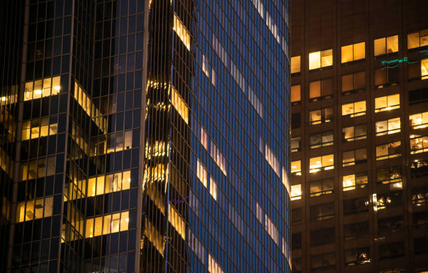Night Building Perspective, Los Angeles, California. stock photo