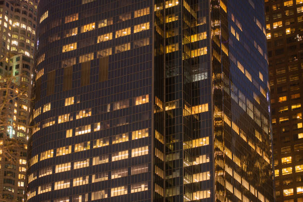 Night Building Perspective, Los Angeles California. stock photo