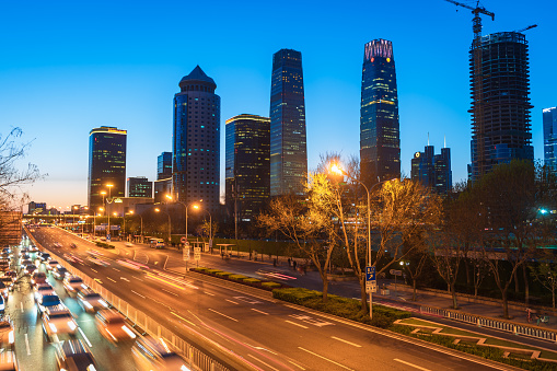 Night busy traffic in Beijing  downtown city. Asia.