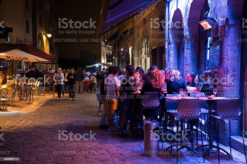 Night cafe scene in Lyon, France stock photo