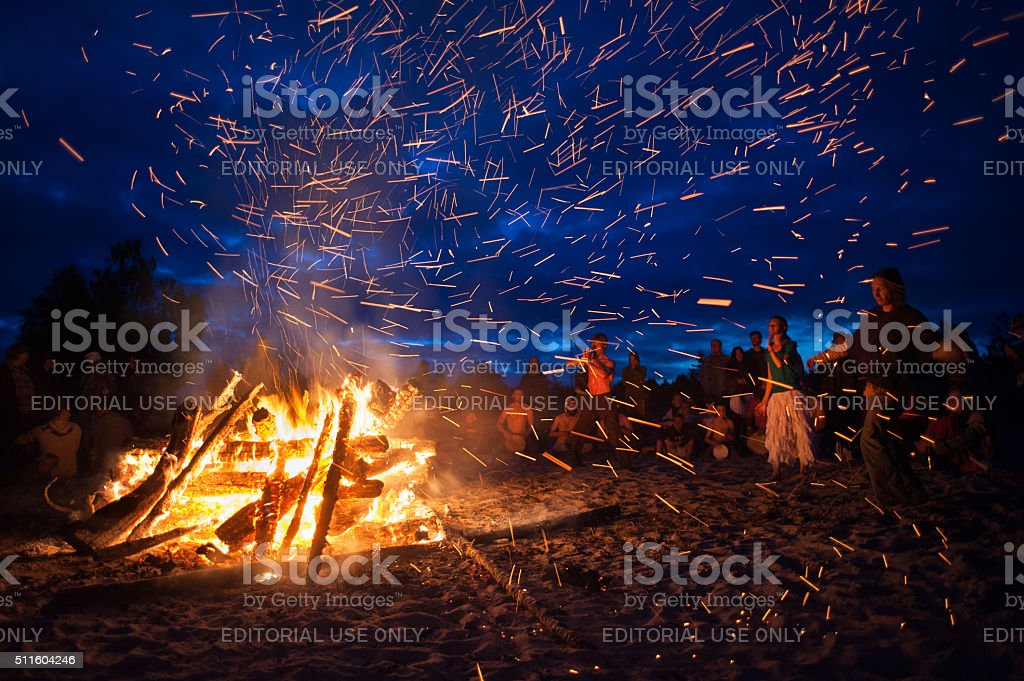 night campfire stock photo
