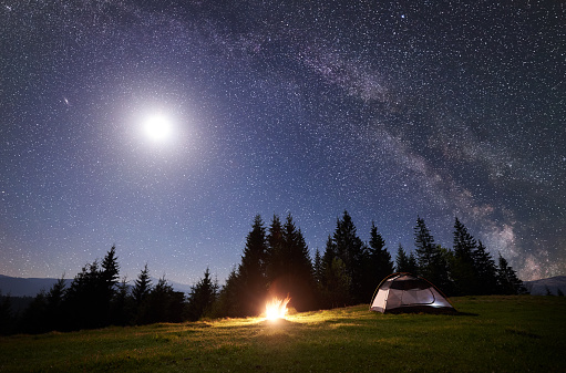 Night camping in mountains. Tourist tent by brightly burning bonfire near forest under clear dark blue starry sky, full moon and Milky way. High pine trees on background. Beauty of nature concept