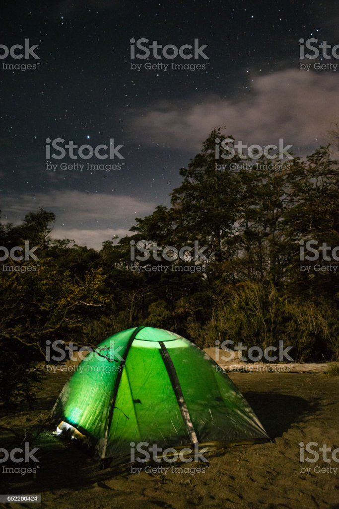Night camping in Patagonia stock photo