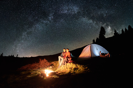 Night Camping Romantic Couple Tourists Have A Rest At A ...