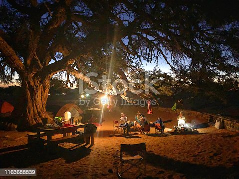 Family camping together under a massively big ancient old tree in the desert with a few tents in the background, camping chairs, a table with wooden seats and a group of family members sitting close to the fire looking and talking to one another under a light hanging from the tree branch at dusk with the sky visible at Sesriem Namibian Desert Namibia in Africa