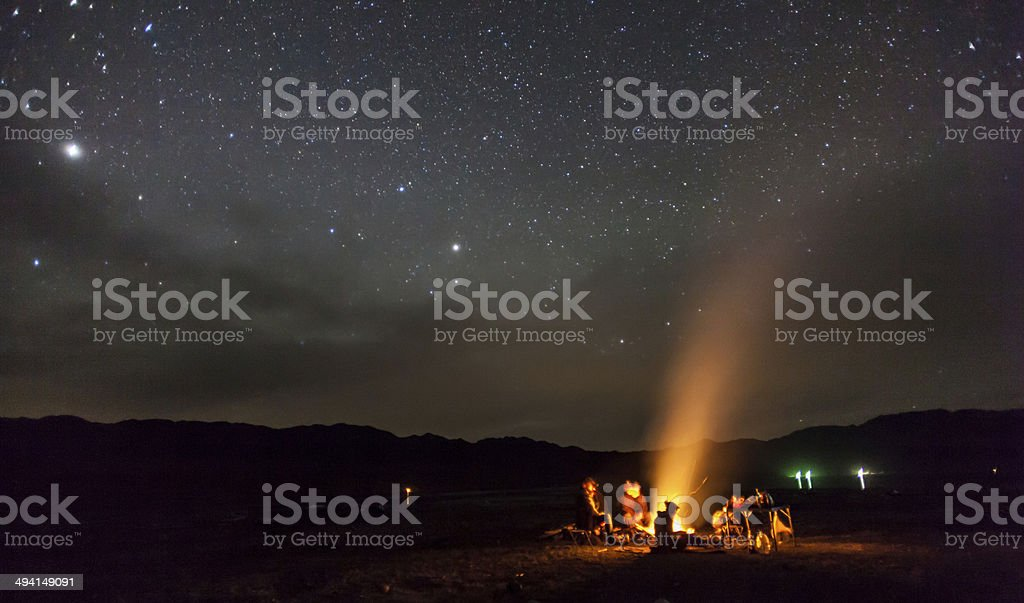 night camping under the stars Mountains stock photo