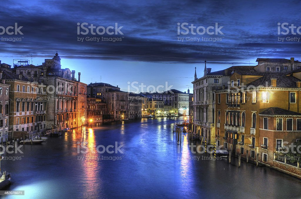 Night Canal with beautiful lights, Venice, Italy stock photo