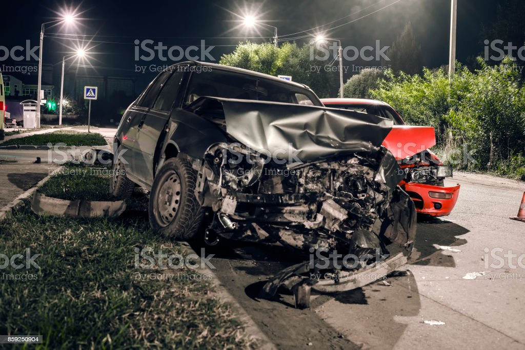 Night car accident stock photo