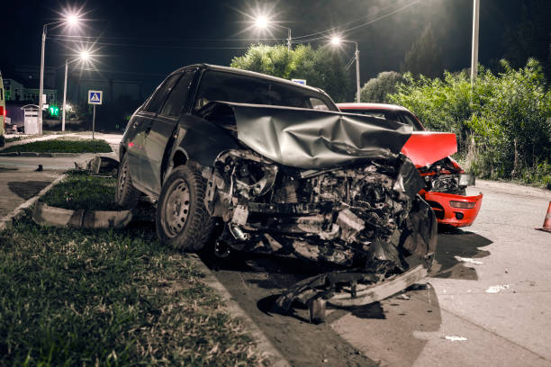 night car accident - car accident stock photos and pictures