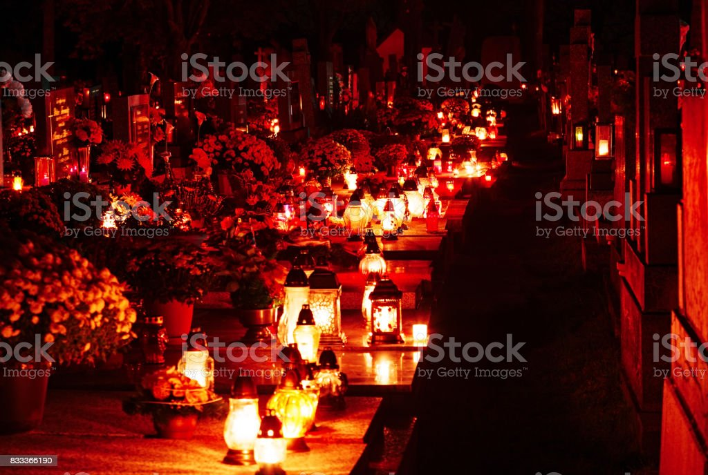 Night Cemetery at All Saints' Day in Slovakia. stock photo