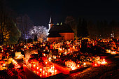 Night Cemetery at All Saints' Day in Slovakia. ProPhotoRGB