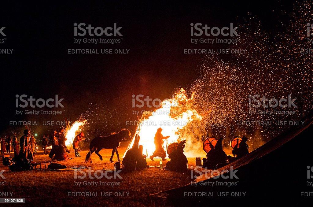 Night ceremony of shamanism. stock photo