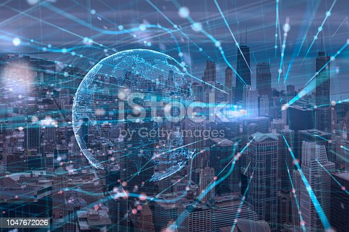 istock Night chicago cityscape bouble exposure of Global Futuristic computer digital Abstract,cyber space technology background concept 1047672026