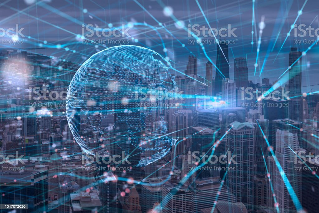 Night chicago cityscape bouble exposure of Global Futuristic computer digital Abstract,cyber space technology background concept stock photo