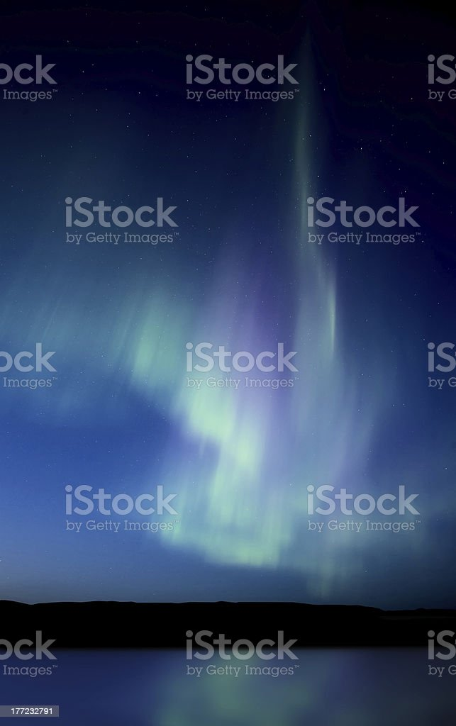 Night Church Northern Lights stock photo