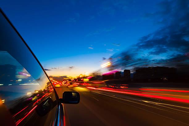 night city drive by car - teleport bildbanksfoton och bilder