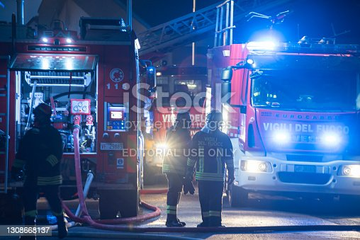 istock Night city emergency firefighters 3 1308668137