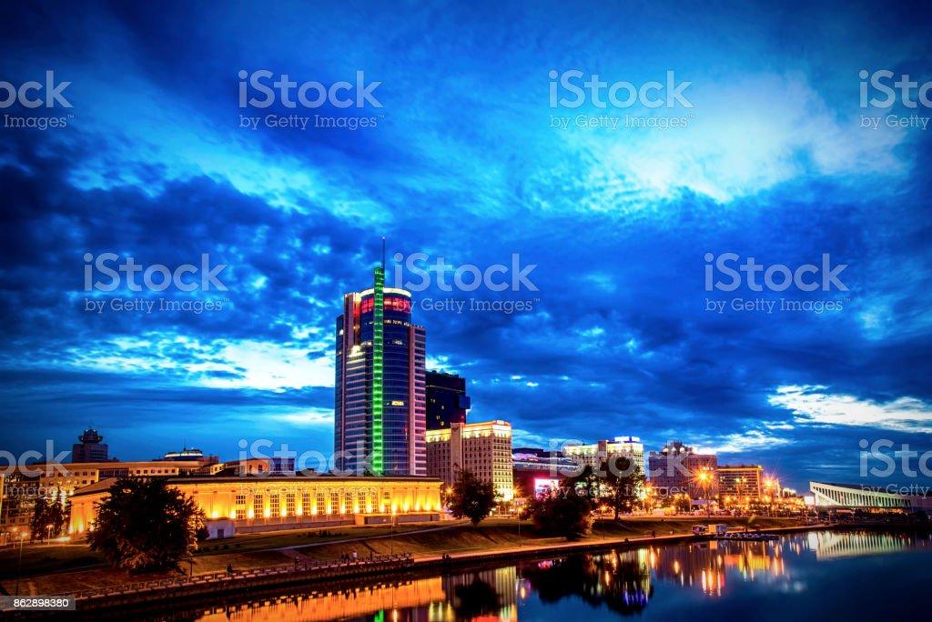 Night city. Long exposure stock photo
