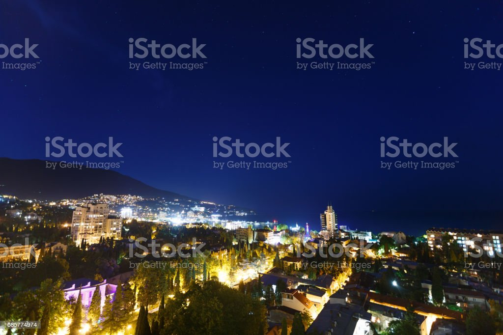 Night city near sea. Russia, Black sea, Yalta photo libre de droits