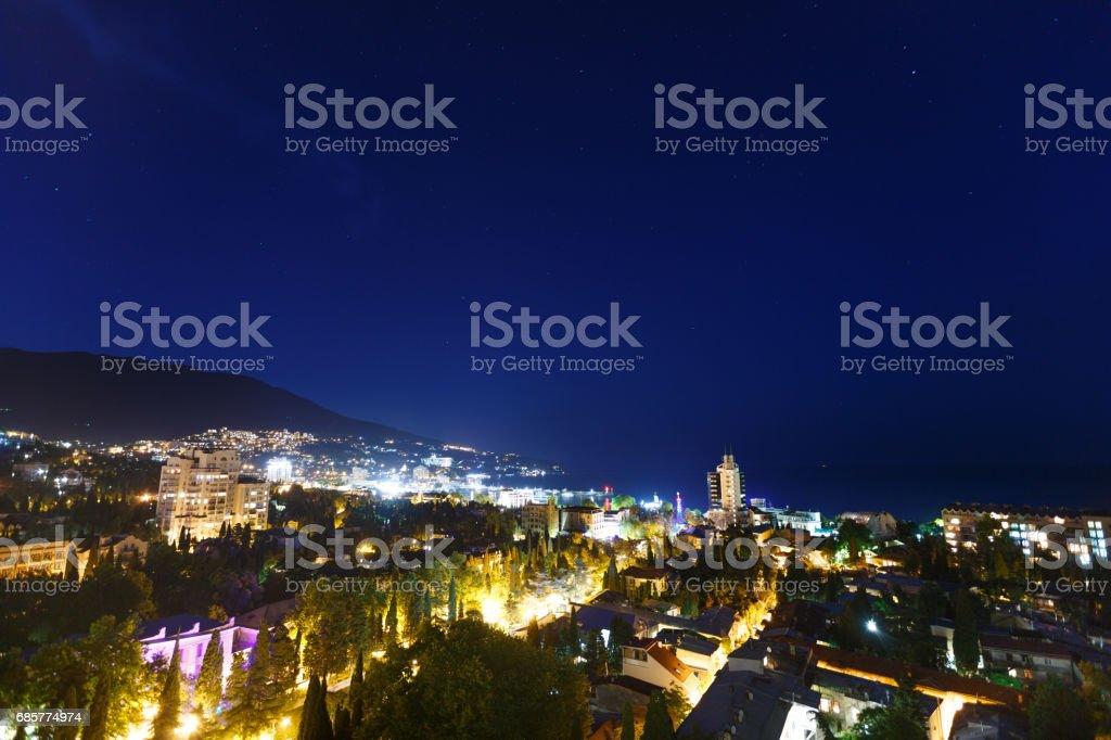 Night city near sea. Russia, Black sea, Yalta royalty-free stock photo