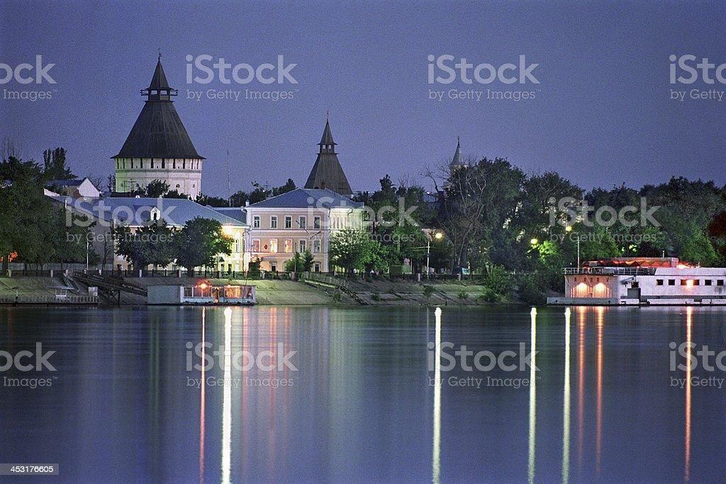Night city of Astrakhan. stock photo