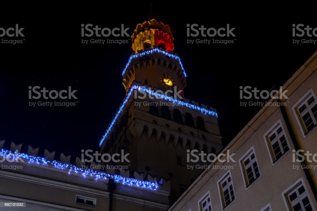 Night city Opole Poland central square area stock photo