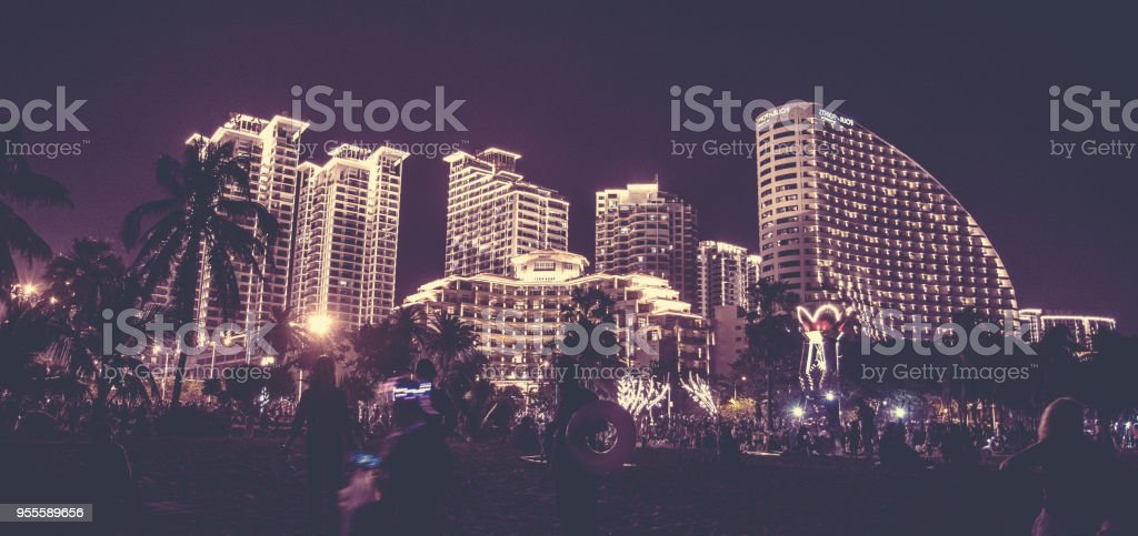 night city Sanya all lights, bright lights adorn the building. the tropics. stock photo