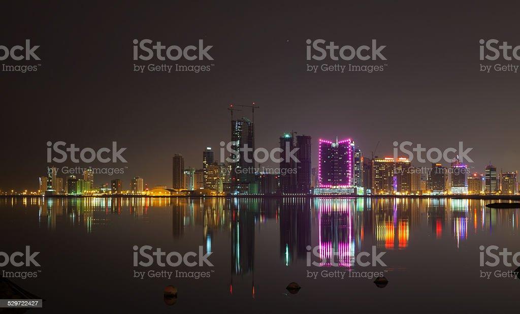 Night city skyline. Manama, the Capital of Bahrain stock photo