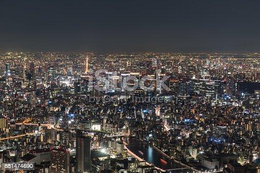 512524478 istock photo Night City View from The Sky Tree Tokyo 881474690
