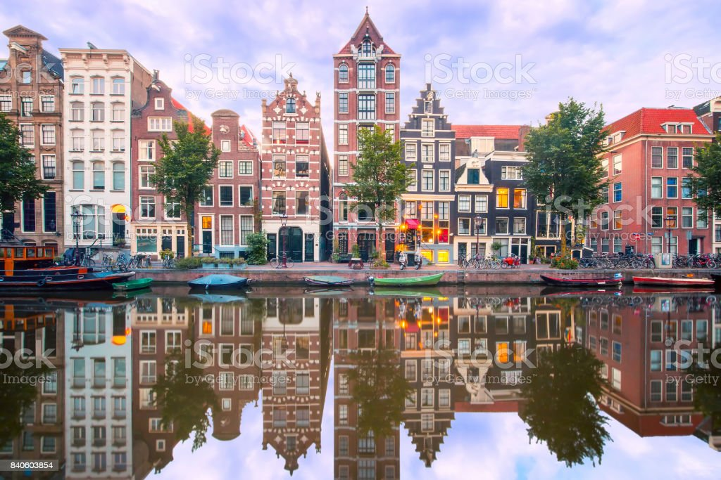 Night city view of Amsterdam canal Herengracht stock photo