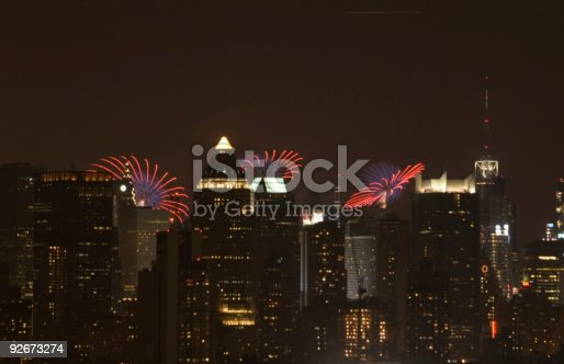 952065128 istock photo night city with fireworks on the background 92673274