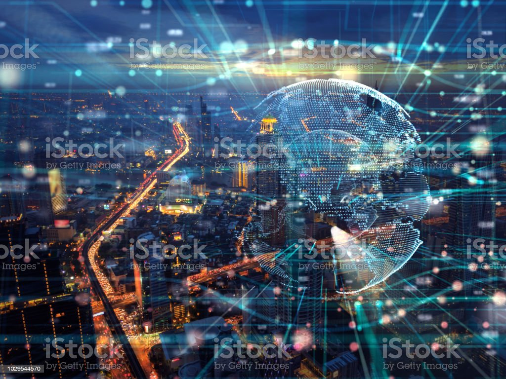 Night cityscape bouble exposure of Global  Futuristic computer digital Abstract ,cyber space technology background concept stock photo
