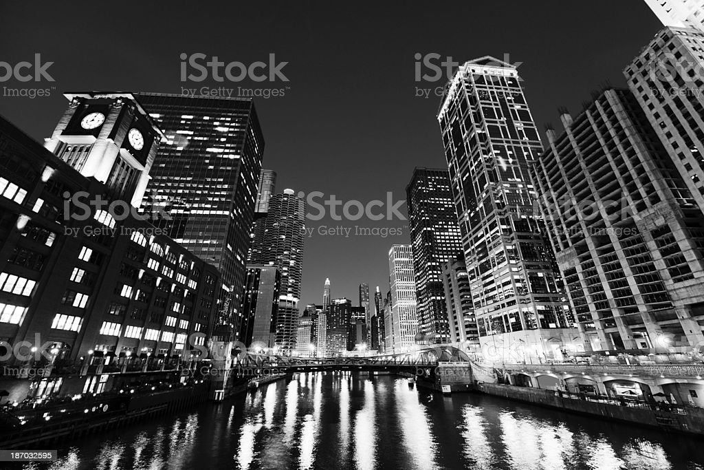Night Cityscape, Chicago. Black And White royalty-free stock photo
