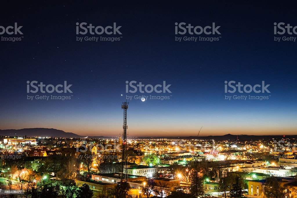 night cityscape commuincations stock photo