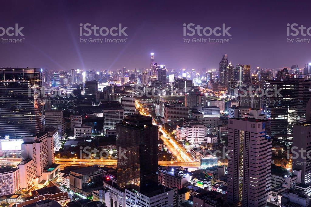 night cityscape in the capital , night life stock photo