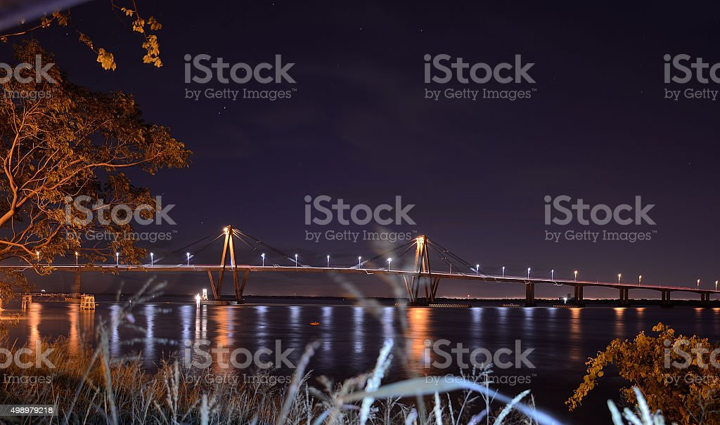 night cityscape of bridge chaco corrientes stock photo