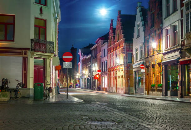 Night cityscape of Bruges stock photo